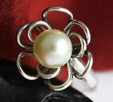 Echter 925 Silber Damen Ring  mit  Perle (53, 54, 55, 58, 59, 60)
