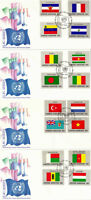 UNITED NATIONS 1980 FLAGS SET OF ALL 16 ON 4 FIRST DAY COVERS NEW YORK SHS