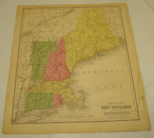 1871 WARREN Antique Map/NEW ENGLAND/Hand-Colored