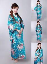 New Vintage Japanese Kimono Costume Yukata Gown Floral Robe Haori Dress with Obi