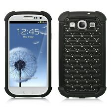 SAMSUNG GALAXY S3 i9300 DUAL LAYER STUDDED RHINESTONE HYBRID CASE BLACK