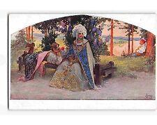 ST1217d: THE FLATTERER BY RUSSIAN ARTIST SERGEI SOLOMKO R.M. #178 Postcard C1912