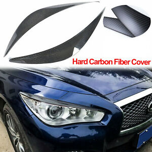 For Infiniti Q50 2014-20 Real Carbon Fiber Headlight Eyebrows Eye Lid Cover Trim