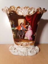 Vase ancien porcelaine Paris XIX 19 siècle scene galante ceramique française