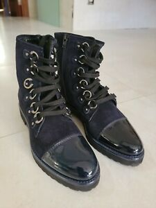 Luca Grossi $595 Navy Blue Suede Patent Leather Boots 37.5 W Box New