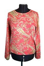 Talbots Women's XL Salmon, Pink & Green Paisley Pullover Sweater, Cashmere Silk