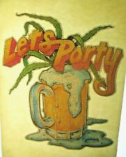 LETS PARTY BEER WEED T-SHIRT IRON-ON VINTAGE UNUSED 70s TRANSFER MENS WOMENS