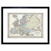 Antique 1855 First Edition Colton Map Europe Framed Art Print 9x7 Inch