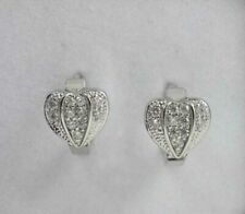 NEW! HIGH QUALITY WHITE GOLD PLATED CRYSTAL HUGGIE EARRINGS (MAJESTIC HEART)