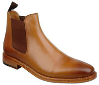 Mens  UK Size 9 Tan Full Leather Slip On Chelsea Ankle Fashion Boots