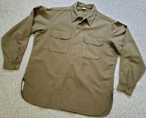 US WWII GI M43 Mustard Wool Shirt X Large Size 17 x 35, Near Mint, w/ Gas Flaps