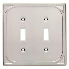 CAMBRAY Double Light Switch Cover Wall Plate SATIN NICKEL Brainerd I44406