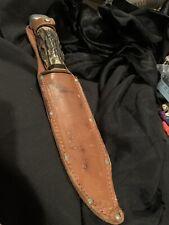 "Vintage Soligen Knife FPS Germany Bowie German Leather Sheath 60's Elk 12"""