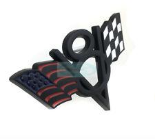 Black V8 American US USA Flag Chrome Metal Front Emblem Badge For Chrysler GMC