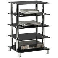 Chrome & Black Glass Media Entertainment TV Stand Hifi Shelving Unit