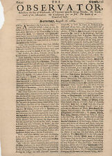 """Rare 1684 Issue of """" The Observator """" Article on Witchcraft Kings Murder"""