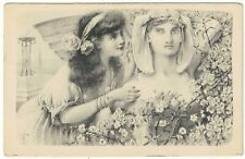 Art Nouveau Glamour Postcard Tucks Continental Series Woman Flowers and Statue