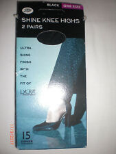 BOOTS Shine Knee Highs Black One size 15 denier 2 pairs BNIB
