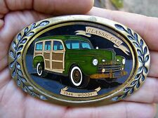 Vtg FORD WOODY Belt Buckle 1946 Woodie CAR Wagon Brass RARE VG++