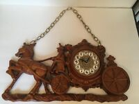 Vintage Horse Drawn Carriage Wall Clock with Chain Mid-Century ? Homco