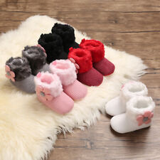Fashion Baby Girls Flowers Booties Infant Winter Snow Boots Warm Faux Fur Boots