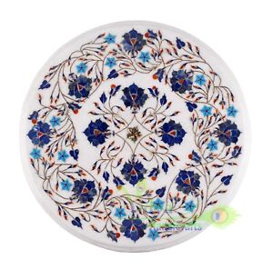 """15"""" Marble Coffee Table Top Semi Lapis Stone Inlay Mosaic Floral Art Home Decor"""