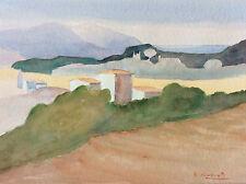 Grande aquarelle sur papier expressionniste expressionnisme paysage P Raponty