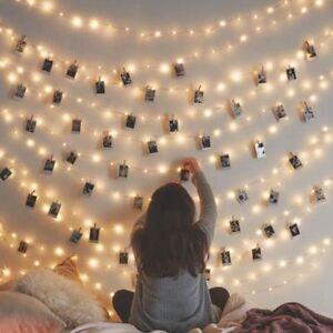 10/20/30/50 Photo Window Hanging Peg Clips LED String Lights Home Fairy Decor