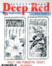 New CLING Deep Red Rubber Stamp Christmas HOLLY POINSETTIA tickets Free usa ship