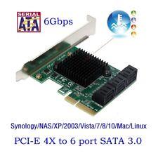 PCIe PCI Express 6G SATA 3.0 6-Puerto Adaptador De Tarjeta Controladora Sata III Expansión