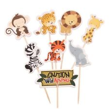 24pcs Safari Jungle Animal Cupcake Toppers Picks Birthday Party Decor Kids FavoR