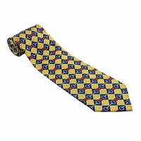 "Gucci Yellow Blue Red Silk Diamond Chain Link Pattern Vertical Twill Tie 3.75"""