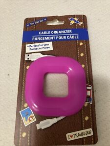 On The Go Cable Organizer PINK Great For Pocket Or Purse 100% Silicone NEW