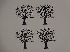 """4 black intricate trees  2 1/2"""" tall scrapbook die cuts greeting card die cut"""
