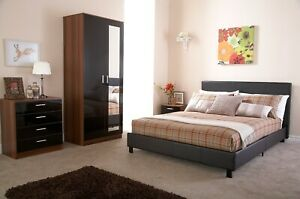 CLEARANCE SALE NEW BROWN FAUX LEATHER BED 4FT SMALL DOUBLE STRONG FRAME