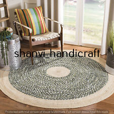 Round Braided Handmade Natural multi Color 7 Feet Jute Rug Area Rugs Carpet Mats