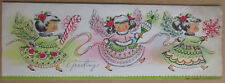 Rare Vintage 1950's Brookline Design Bapco Used Christmas Greeting Card 3 Girls