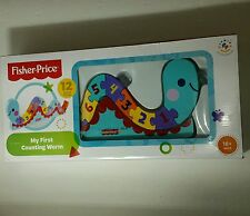 Fisher Price My First Counting Worm New in Box 18+MOS 12 Wood Pieces With Stand