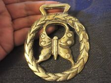 """COLLECTABLE GENUINE VINTAGE HORSE BRASS BUTTERFLY IN LAUREL WREATH 3.5"""" #1"""