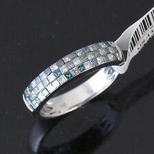 NYJEWEL 14k W Gold Brand New Fabulous 1.2ct Blue & W Diamond Wedding Band Ring