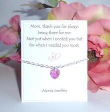 Día de las madres Elemento De Cristal Swarovski Corazón Rosa De Regalo Pulsera De Plata ~ gracias