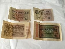 Lot of 4 Weimar  Germany Reichsbanknotes from 1923-1924
