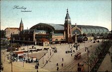 HAMBURG ~1900/10 Strassen Partie Hauptbahnhof Bahnhof Tram Straßenbahn alte AK