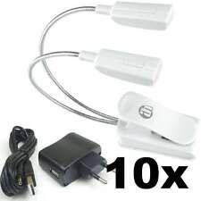 10x LED Flexilight Schwanenhalsleuchte weiß Leselampe Klemmlampe mit Trafo & USB