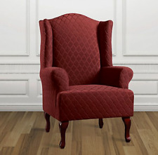 Stretch Grand Marrakesh wing chair one piece Slipcover by sure fit Paprika red