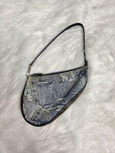 Dior Mini Denim Saddle Bag Pochette Patchwork Denim Distressed