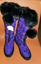 $228 Women's Coach Theona Snow Boot Purple/black real fur trim pom US 3 (5) new