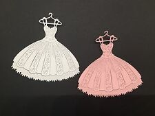 (8)Princess Pleated Dress Die Cuts,Tattered Lace,Cards,scrapbook,wedding,prom