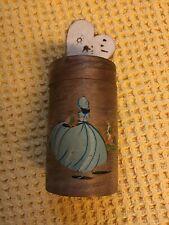 Vintage Bamboo Hand Painted Crinoline Lady Lidded Round Box