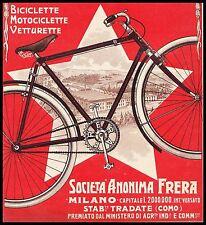 PUBBLICITA' 1909 BICICLETTA FRERA MOTOCICLETTA VETTURETTE BIKE TRADATE COMO